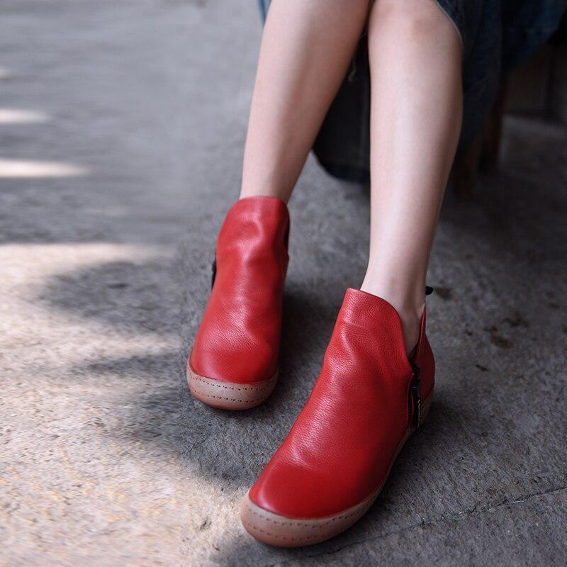 f406a3bbf165be Cheville Et Pente Cuir Femmes Nouveau red Chaussures Automne 2018 Nouvelle  Printemps Confortables Jl18d0005 Black Bottes ...