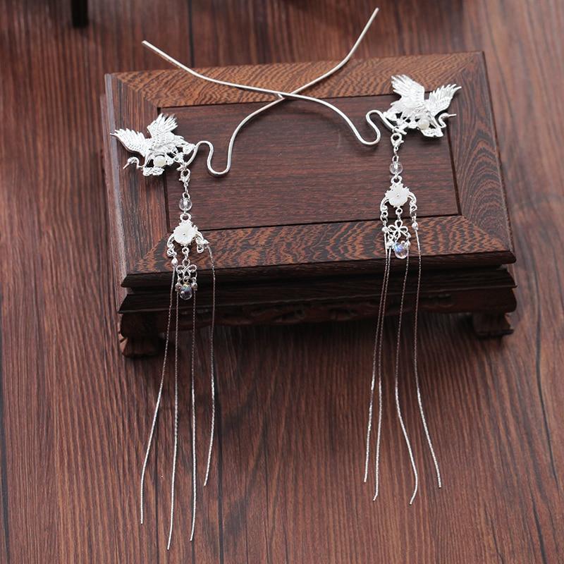 Handmade Hanfu Hairpin Ancient Wind Silver Crane Crane Fairy Hair Long Tassel Classical Headdress Chinese Style Retro Step Shake