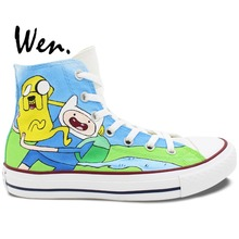 Wen Hand Painted Shoes Design Custom Adventure Time Man Woman's High Top Canvas Sneakers for Birthday Gifts