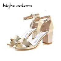 Summer New Chic Office Lady Simple Sexy Style Women Fashion Sandals Thick High Heels Shoes Silver