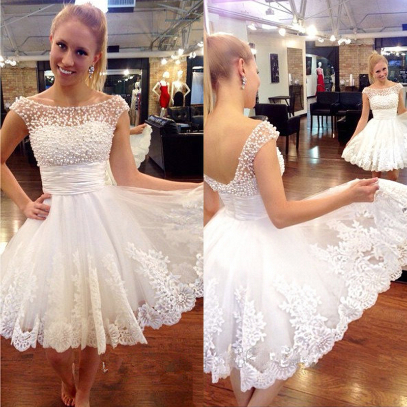 b6b395d1fe 2015 White Beaded Short Prom Dresses Bateau Cap Sleeve Lace Applique Pearls Homecoming  Dress-in Homecoming Dresses from Weddings   Events on Aliexpress.com ...