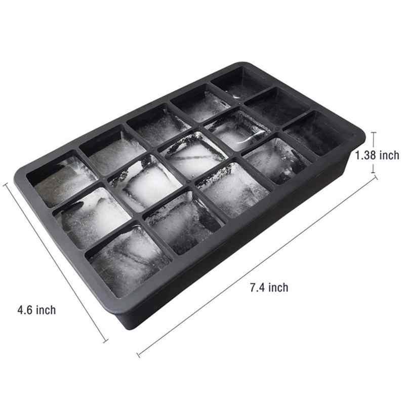 سيليكون آيس كيوب صانع 15-تجويف لتقوم بها بنفسك جهاز تكوين الثلج الجليد صواني مكعبة قوالب ل الجليد الحلوى كعكة بودنغ الشوكولاته الويسكي قوالب أداة