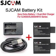 Oryginalny SJCAM SJ4000 900mAh i podwójna ładowarka kompatybilny dla SJCAM SJ4000 SJ5000 M10 serii kamery sportowe