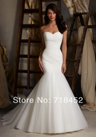 2014 Discount Fitted Wedding Dresses Mermaid White Organza Vestidos De Novia Bridal Gowns Sweetheart Free Shipping