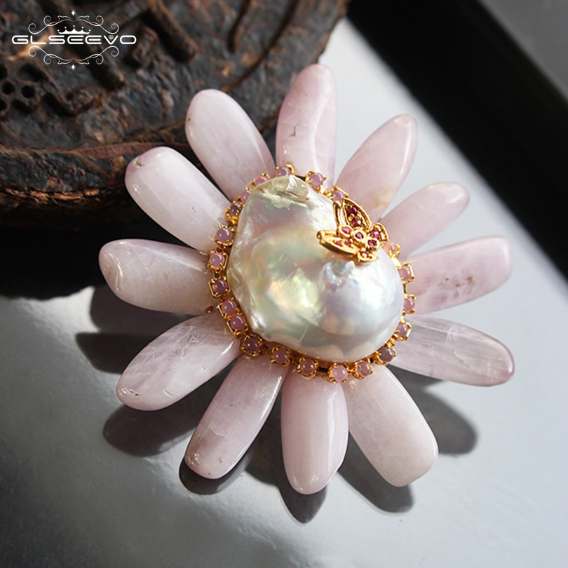 все цены на GLSEEVO Natural Fresh Water Baroque Pearl Flower Brooch Pins Pink Crystal Brooches For Women Dual Use Luxury Jewelry GO0080 онлайн