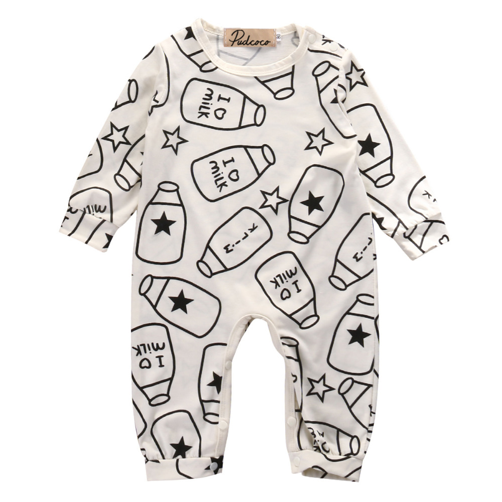 Newborn Kids Baby Boy Girls Infant Long Sleeve Milk Bottle Romper Jumpsuit Clothes Outfit 0-12M baby boy clothes kids bodysuit infant coverall newborn romper short sleeve polo shirt cotton children costume outfit suit