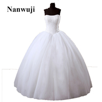2016 In Stock Strapless Lace Bust Princess Elegant Lace Up Back No Train Wedding Dresses Wedding Gowns