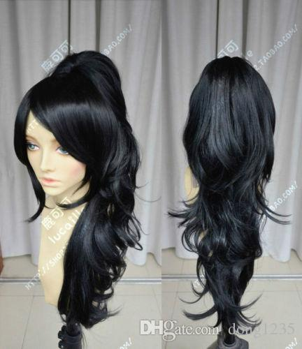 Free Shipping wigs><League of Legends LOL Nidalee Long Black Cosplay Party Hair Full Wig sofeel forum novelties colonial boy child wig white high temperature fiber cosplay wigs free shipping