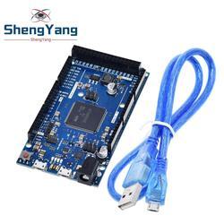 Официальный Совместимость из-за R3 доска SAM3X8E 32-битный ARM Cortex-M3 / Mega2560 R3 Duemilanove 2013 для Arduino DUE плата с кабелем