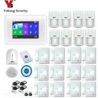 Yobang Security 4.3inch Full Touch Screen Door/Glass break sensor Smoke detector Burglar Alarm System with APP Remote Control