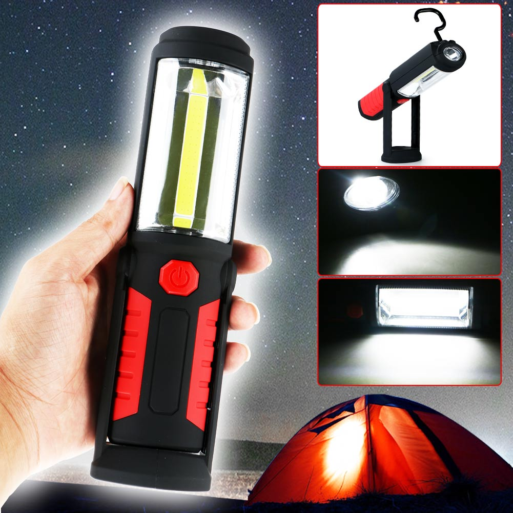 Flexible Rechargeable COB+5LED Work Light Inspection Lamp Magnet+Hook Hand Torch