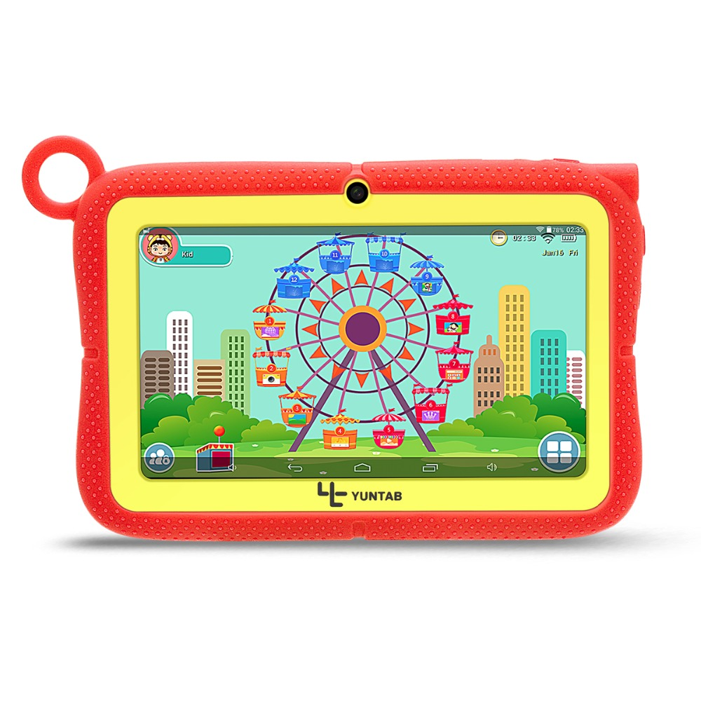 YUNTAB 7inch Q88R iWawa Kids Tablet PC HD 1024*600 Display , Parental Control Software for Learning with Chic stand Case vintage suitcase 20 26 pu leather travel suitcase scratch resistant rolling luggage bags suitcase with tsa lock