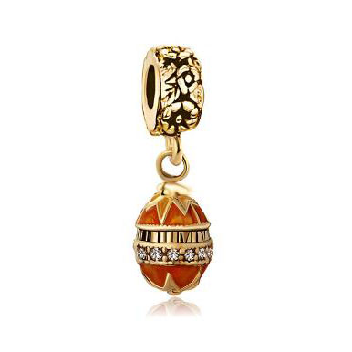 Fit Pandora charm bracelets Golden Faberge Egg Dangle Bead Charm Bracelets Bead Charm Bracelets Beads for jewelry making