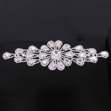 Мода ручной Кристалл блестящие аппликация с камень кисточкой серебристыми стразами Аппликация отделка для свадебные пояса DIY Швейные