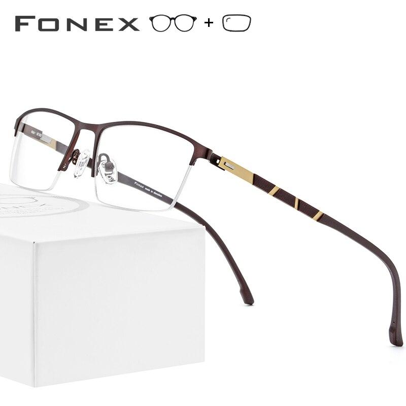 Alloy Prescription Glasses Frame Men Ultralight Half Square Myopia Eyeglasses 2019 Hot Silicone Optical Frames Screwless
