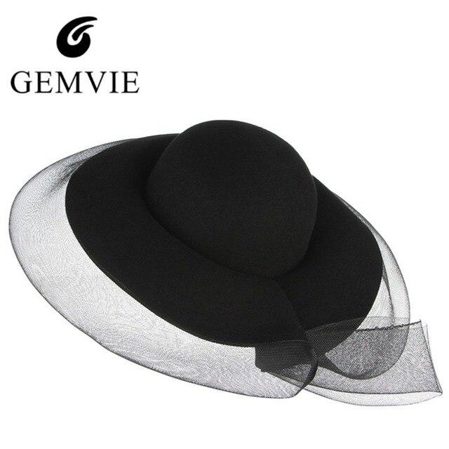 beef2d98148 New Trendy Woolen Felt Hats For Women Fedora With Veil Wide Brim Top Hat  Elegant Lady