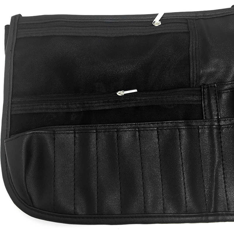 7c7ed8b643 ... Pro Portable Black Makeup Brushes Kits Waist Belt Zip PU Bag Cosmetic  Pack Artist Tools Holder ...