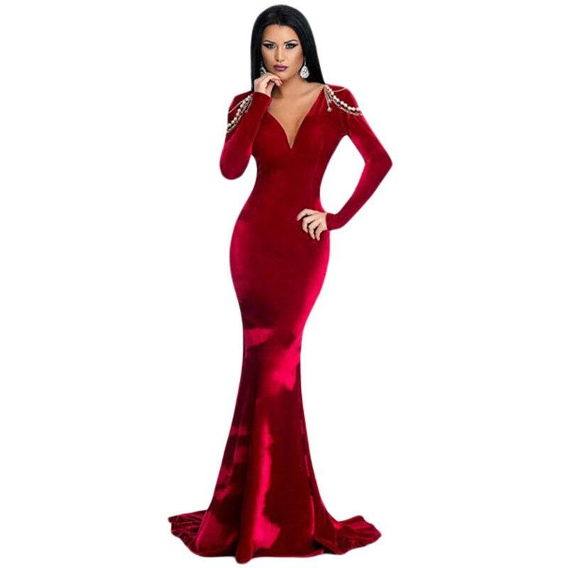 Women Long Dress Elegant For Party Red Long Sleeve Velvet Formal ...