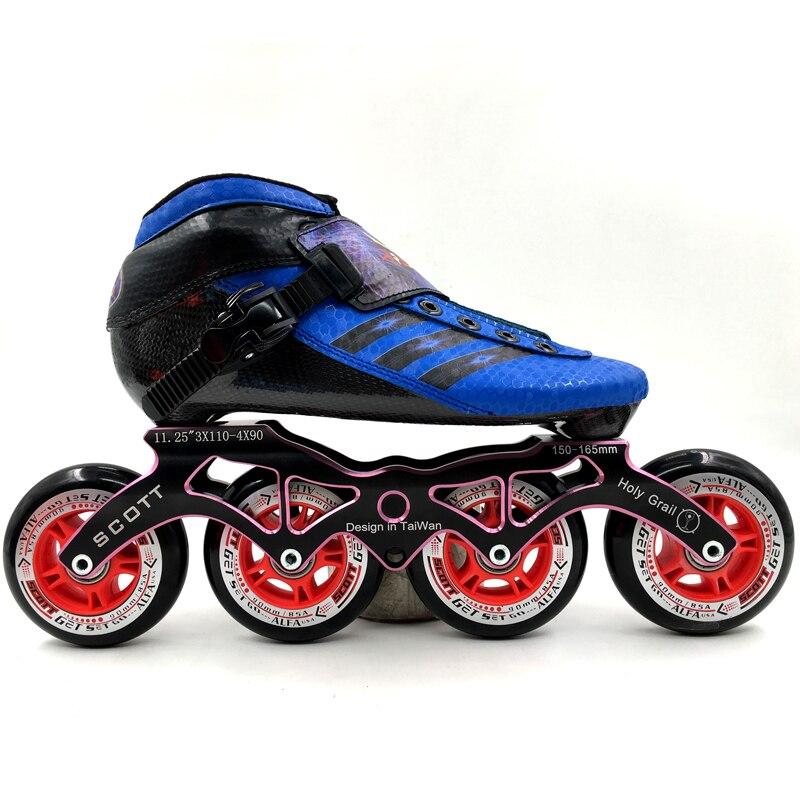 Sepatu profesional Sepatu Kecepatan Serat Karbon Dewasa Anak anak Sepatu  Roda besar Roda 3x110 dan 6926d6098c