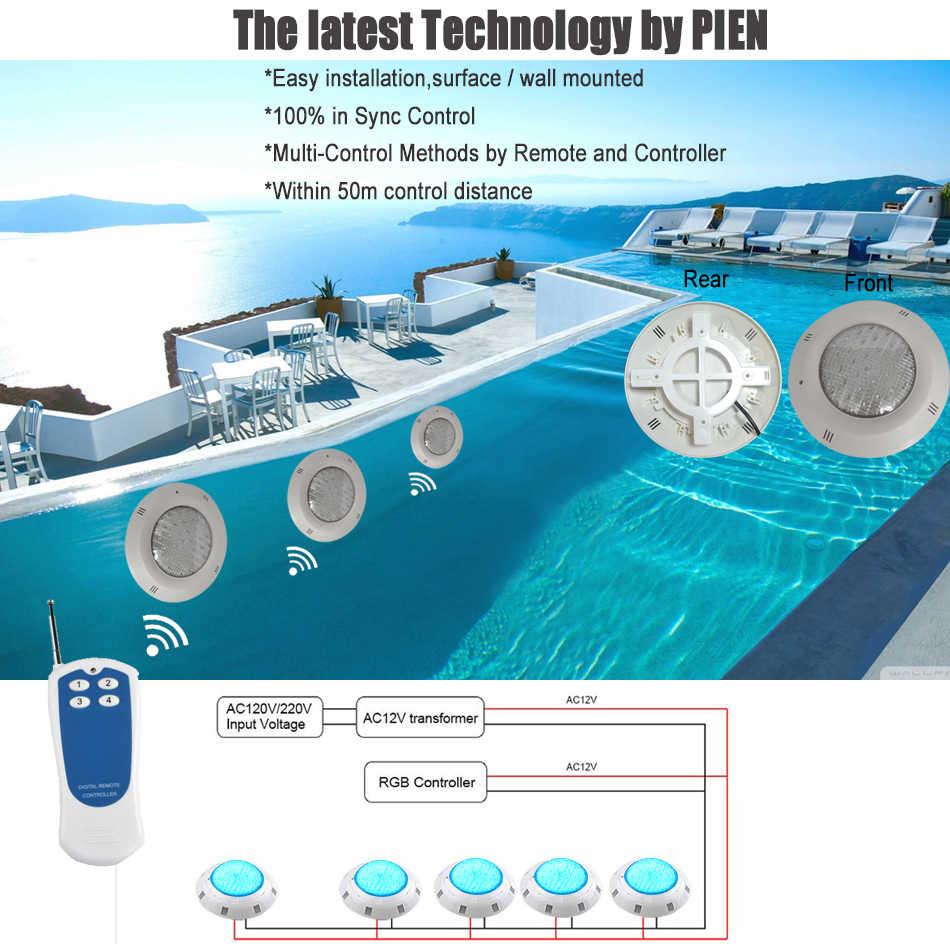 LED RGB bajo el agua de la piscina de luz de montaje en superficie 12 V AC DC impermeable IP68 con Control remoto 18 W 35 W envío gratis