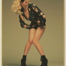 Sexy Lady Gaga cantante de música cartel de papel clásico cartel antiguo vintage rock Adhesivo de pared de música retro manualidades de papel 51*35 cm