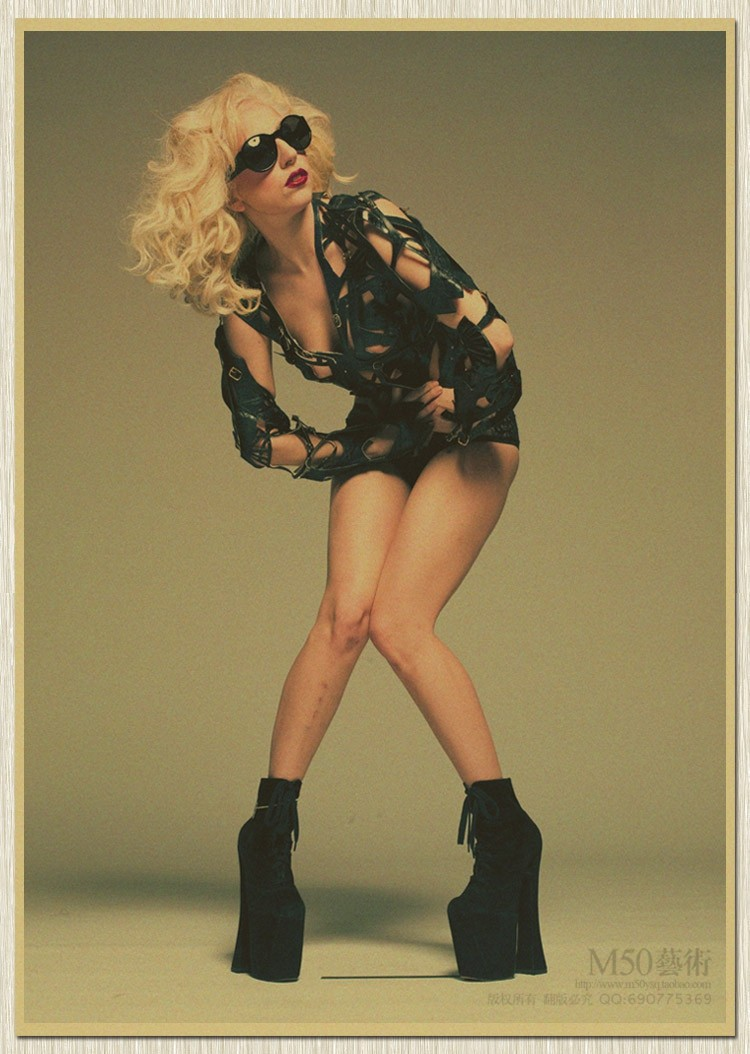Sexy Lady Gaga Music Singer paper poster classic old poster vintage rock music wall sticker retro paper craft 51*35 cm