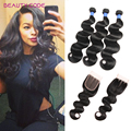 Brazillian Body Wave With Closure 4 Bundles Brazilian Virgin Hair Body Wave With Closure 8a Grade Unprocessed Human Hair Weave