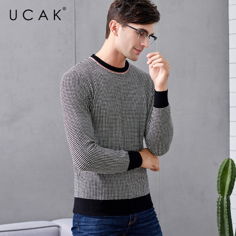 UCAK Brand Merino Wool Sweater Men Streetwear Young Fashion Sweaters O-Neck Pull Homme Autumn Winter Cashmere Pullover Men U3044