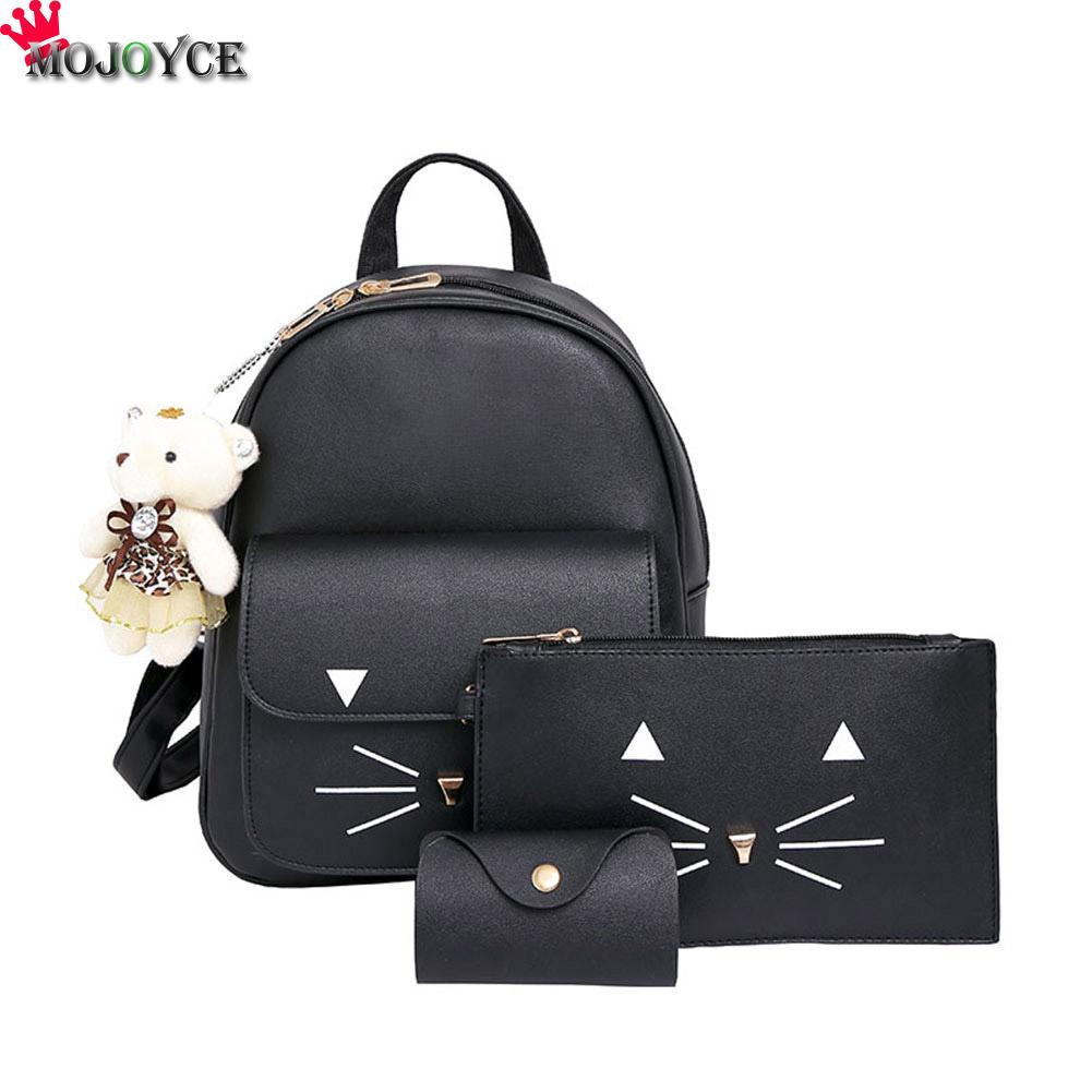 3pcs Cat Printing Backpack PU Leather Mini Backpacks Women School Bags for Teenage Girls Bags Children Backpack Mochilas Sac melodycollection candy color pu leather mini backpack for women girls purse fashion schoolbag mini casual daypack dome backpacks