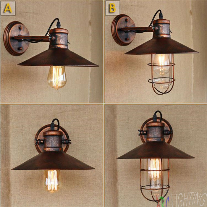 retro loft vintage industrial industrial rust metal cover wall lamp wall lights lights. Black Bedroom Furniture Sets. Home Design Ideas