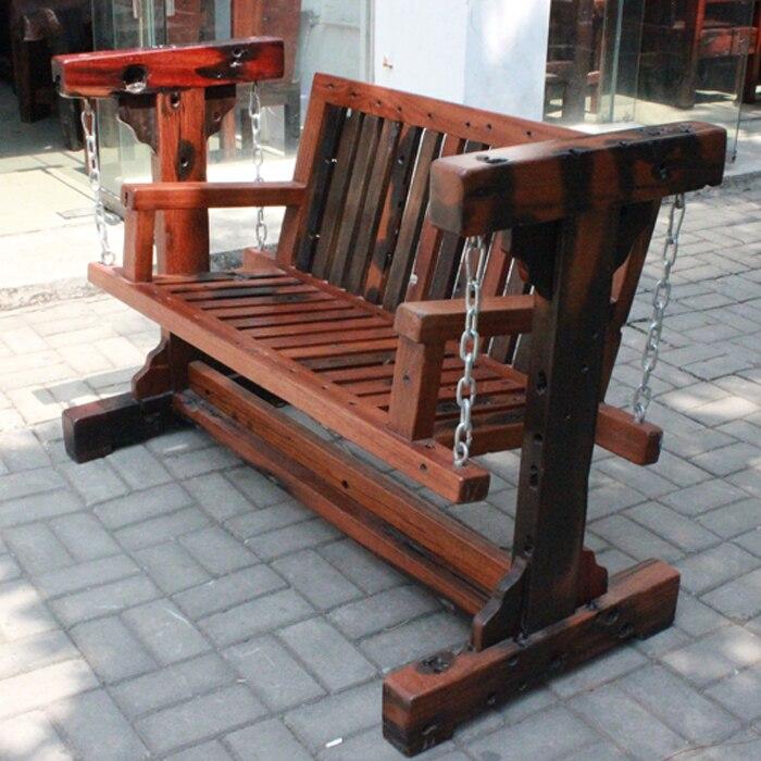 Madera vieja respaldo doble columpio al aire libre silla for Silla columpio
