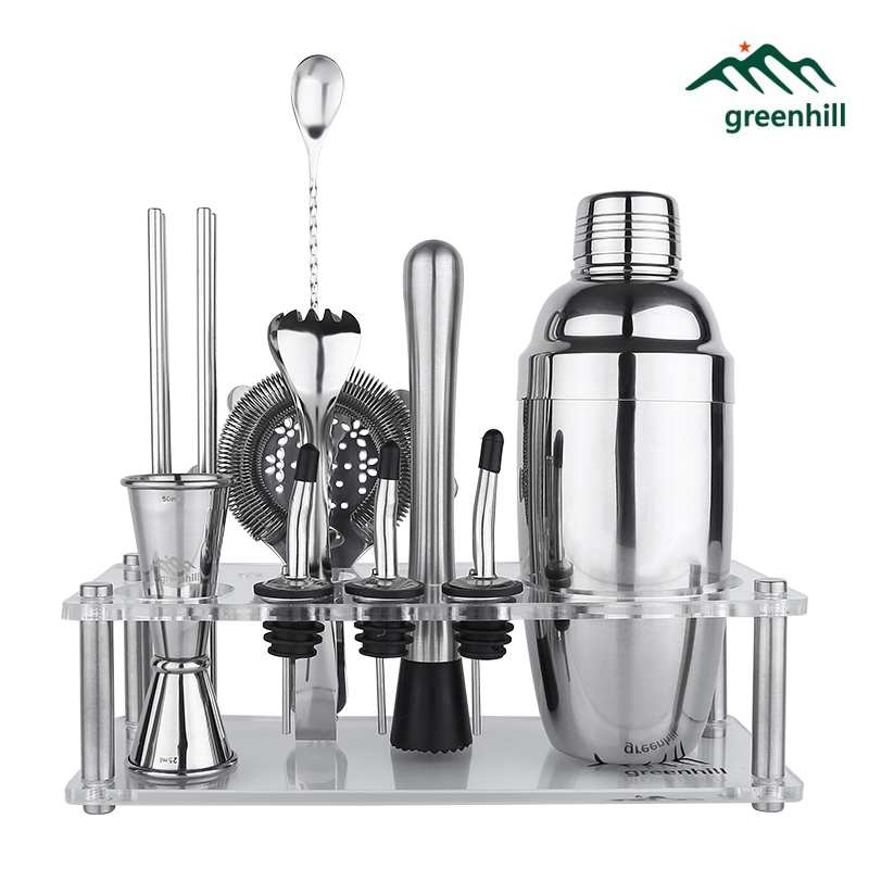 Greenhill Premium Barware Set 13 Pieces including Shaker Jigger Ice Tong Strainer Pourer Muddler Straw Spoon