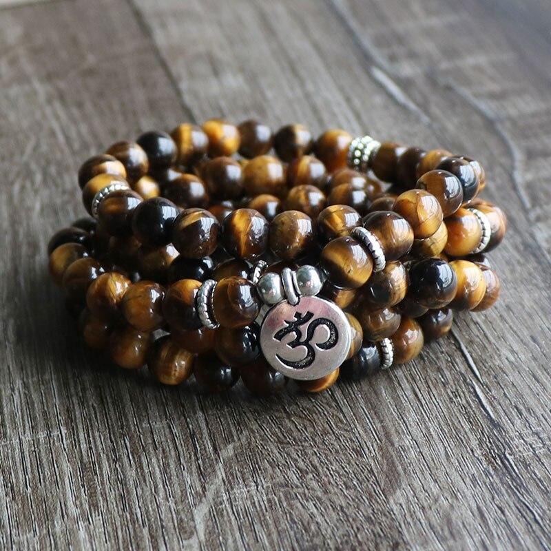 108 Mala Perline di Pietra Meditazione Reiki WrapBracelet Elasticità Ohm Tree of Life di Fascino Yoga Natura AB + Pietra Occhio di Tigre braccialetto