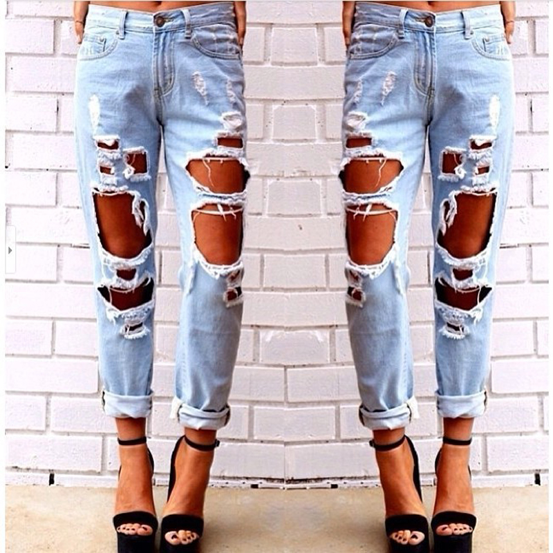 2017 Women Hole Loose Jeans Fashion Female Plus Size Ripped Vintage Straight Casual Cotton Denim Pants Clothing WJNAM06