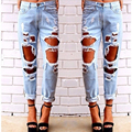 2017 Women Hole Loose Jeans Fashion Female Plus Size Ripped Vintage Straight Jeans Casual Cotton Denim Pants Clothing WJNAM06