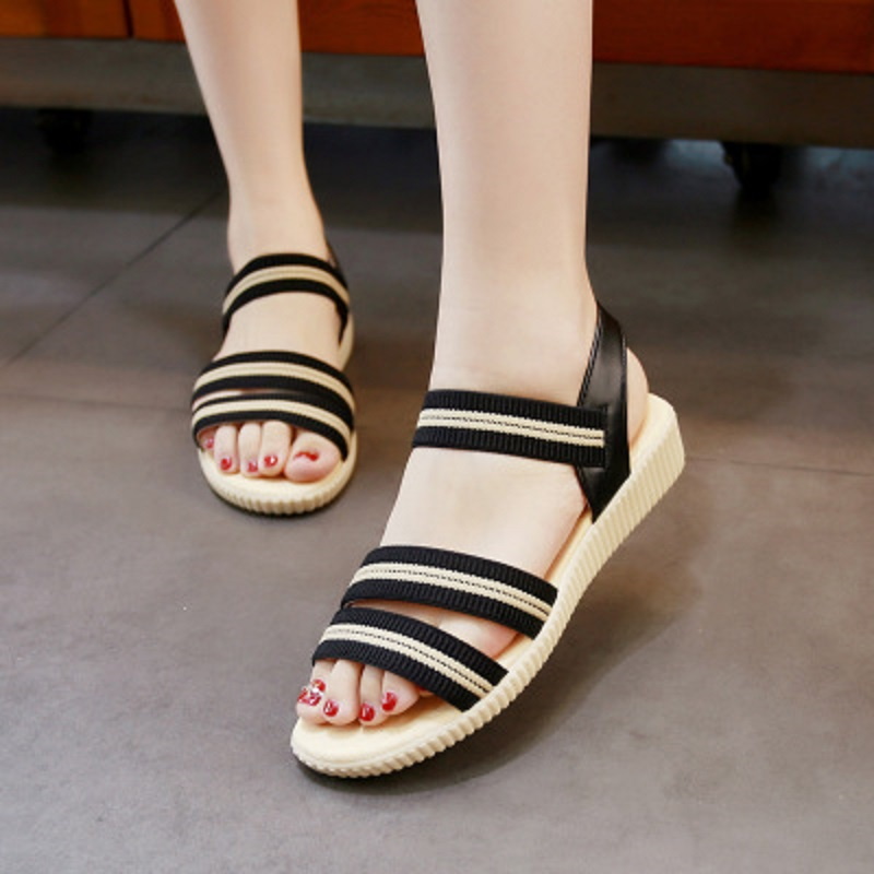 2018 summer new elastic cloth striped sandals women's flat low-heeled student shoes 3