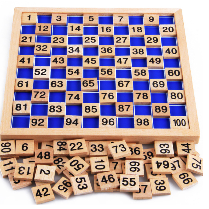 1-100 Numeral Wooden Plate Montessori Digital Cognitive Board Early Childhood Education Digital Board Plate Jigsaw puzzle Toys