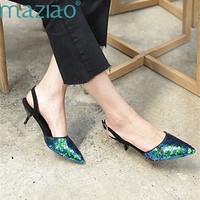 Ladies Shoe Sheep Velvet Pointed Toe Buckle Vintage Heteromorphic Heel Classics Party Shoes Woman High Heel MAZIAO