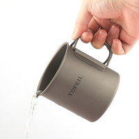Yofeil outdoor camping military titanium alloy 450 ml ultra light water cup mug portable cover handle picnic