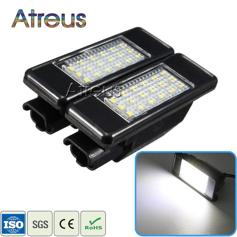 Atreus Car LED License Plate Lights 12V For Peugeot 307 308 407 207 3008 508 For Citroen C4 C5 C3 accessories White SMD LED Lamp 2pcs for peugeot 106 3d 1007 207 307 308 3008 406 407 508 607 18smd car led license plate light lamp oem replace automotive led