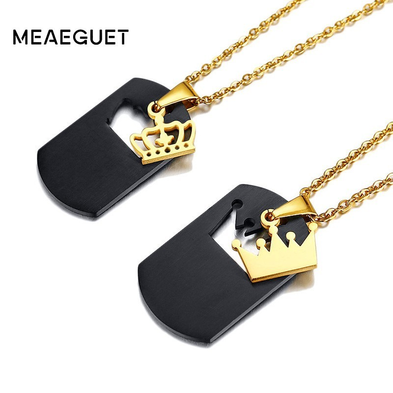 Customized Queen King Pendant Couples Necklace Personalized Stainless Steel Movable Choker Collares Men Women Love JewelryCustomized Queen King Pendant Couples Necklace Personalized Stainless Steel Movable Choker Collares Men Women Love Jewelry