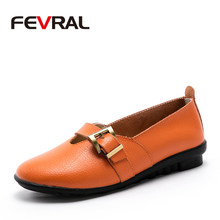 FEVRAL Brand Genuine Leather Woman Flat Shoes Fashion Buckle Design Comfortable Casual Leather Woman Shoes Large Size 35-44(China)