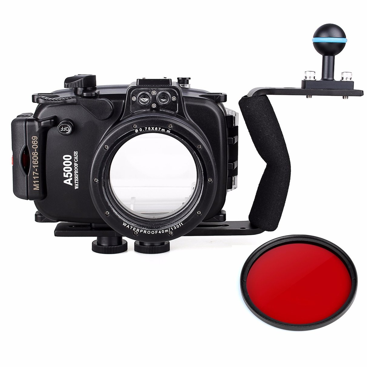 40m 130ft Waterproof Underwater Diving Camera Case For Sony A5000 16-50mm + Aluminium Diving handle + 67mm Red Filter