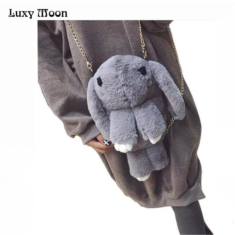 2017 Play Dead Rabbit Clutch Bag Artificial Rabbit Fur Bag Rabbit Bag Chain Mess