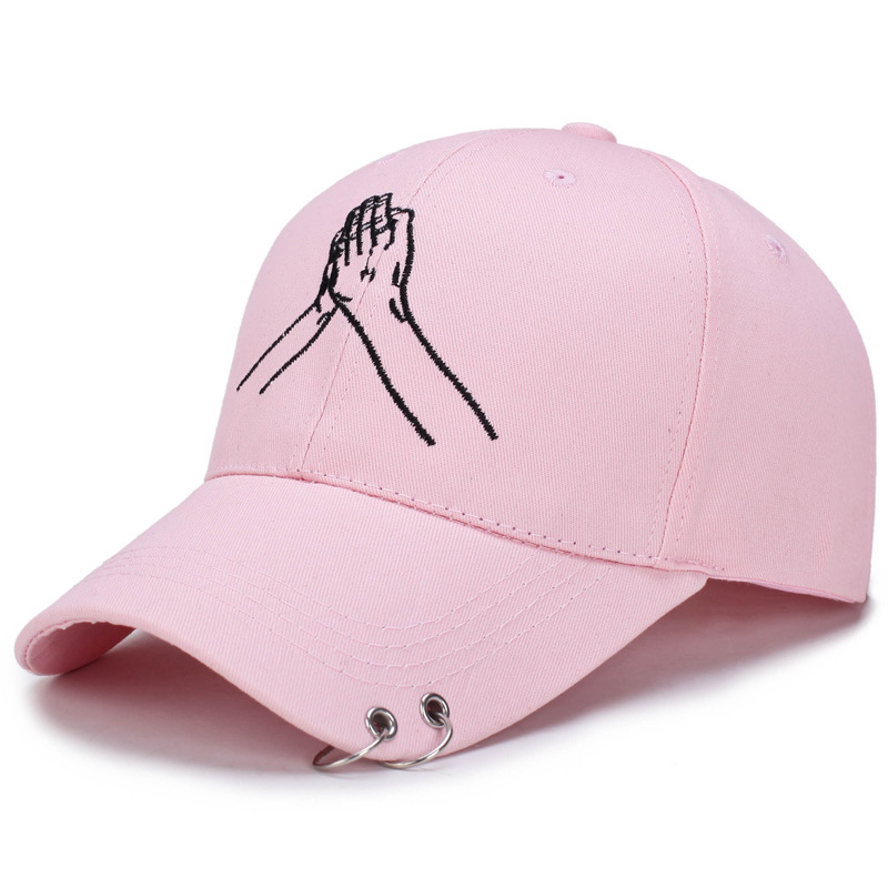 2107 Spring Autumn Metal Hoop Two-Hand Embroidery Baseball Cap Fashion Male Lady Caps Outdoors Unisex Sunhat Casual Topee