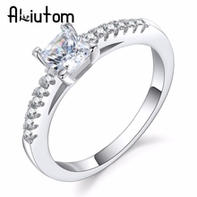 ALIUTOM 2018 Luxury Four-Prong Square Zircon Ring Bridal Jewelry Engagement Ring