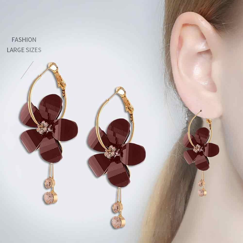 Sweet Korean Women Camellia Flower Long Tassel Rhinestone Party Leaverback Earrings Gift