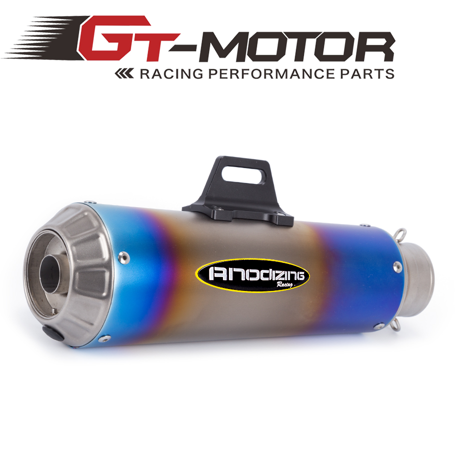 GT Motor -Free shipping 61MM stainless steel Universal Escape Motorcycle Motorcross Scooter Exhaust Pipe Muffler