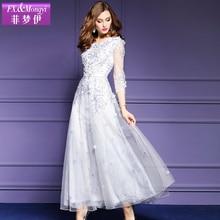 2017 spring dress gauze embroidered one-piece dress female plus size elegant slim three quarter sleeve women's full dress