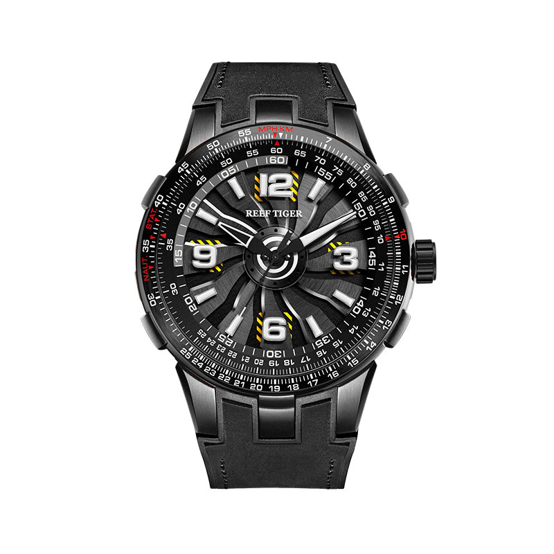 New 2019 Reef Tiger RT Men s Sport Automatic Watches Black Steel Military Watch Luminous Watch